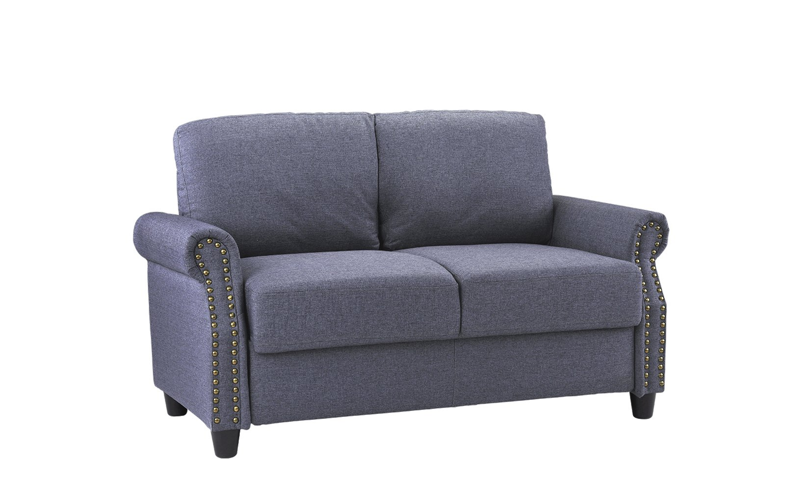 Classic Living Room Linen Loveseat with Nailhead Trim and Storage Space (Blue) by Sofamania (Image #3)