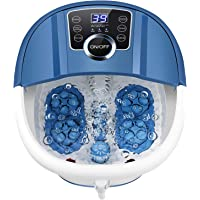Foot Spa Bath Massager with Heat and Bubbles, Foot Bath Spa w/16 Motorized Shiatsu Rollers,Digital Temperature Control…