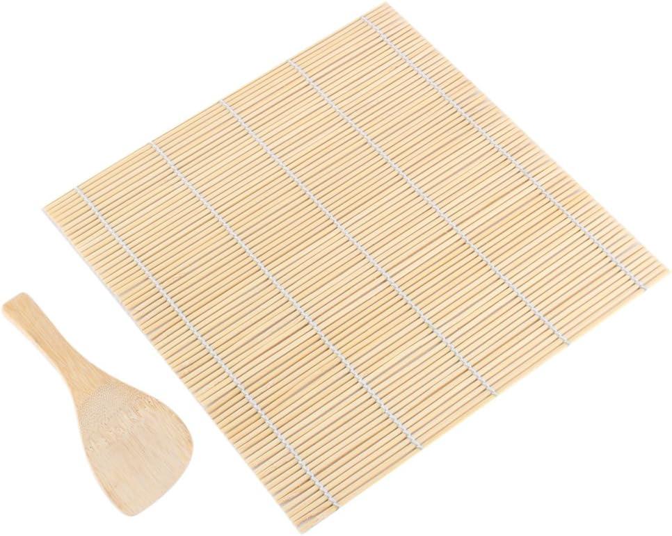 GLOGLOW Bamboo Sushi Making Kit 1 Sushi Rolling Mat e 1 Rice Paddle Sushi Square Roller Roller Mat pi/ù Riso Paddle Sushi Fai da Te Che Fanno Utensili Kit