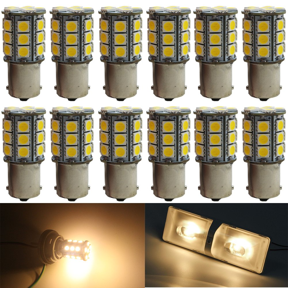 12-Pack 1156 BA15S 7506 1141 1003 1073 Soft Warm White 3000k LED Light 12V-DC, AMAZENAR 5050 18 SMD Car Replacement For Interior RV lighting Camper Turn Signal Light Lamps Tail BackUp Bulbs Amazenar(TM) AZ-1156-5050-18L-WW-N