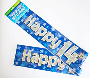 Happy 14th Birthday Banner Age Boys Blue Holographic Wall Room Party Decorations