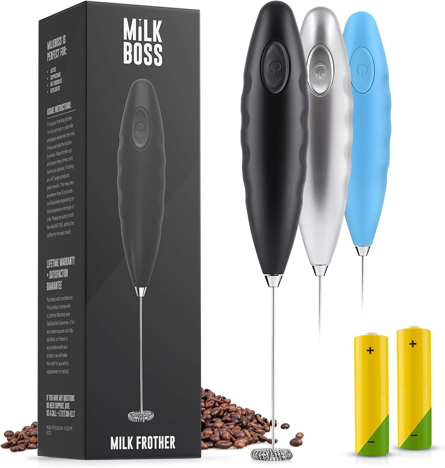 Milk Boss (Batteries Included) Double Grip Milk Frother Handheld - Coffee Frother Electric Handheld Foam Maker - Frother For Coffee, Latte, Matcha & More - Electric Whisk (Stand Not Included) - Black