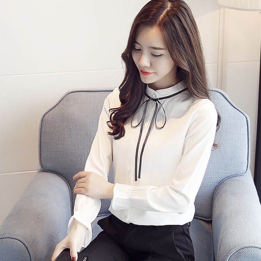 49a9885ed6c82d Orangeskycn Long Sleeve Shirts Lace-up Chiffon Floral Bow Tie Neck Work Top  Blouse Arts, ...