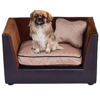 Giantex Pet Lounge Sofa Dog Puppy Bed PU Soft Warm Snuggle Couch W/ 2  Cushion