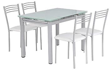 SuenosZzz - Conjunto de Mesa de Cristal Extensible + 4 sillas tapizadas.Color Cristal Templado. Medida Cerrada:110x70 / Abierta170x70 cm.