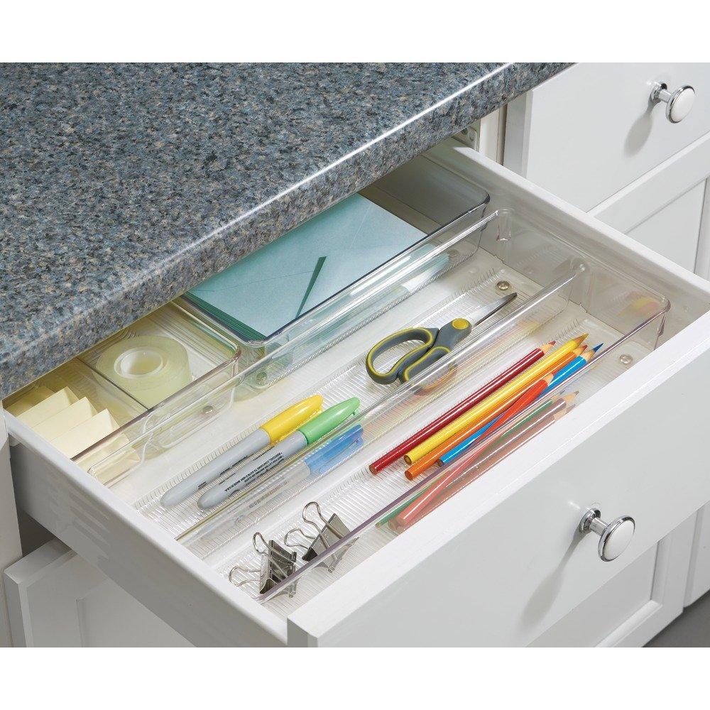 durchsichtig iDesign Linus Schubladenorganizer gro/ßer Schubladeneinsatz aus Kunststoff f/ür Besteck und andere Utensilien