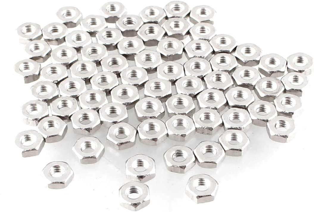 Carbon Steel Pack of 100 uxcell Hex Nuts M2x0.4mm Metric Coarse Thread Hexagon Nut Silver Tone