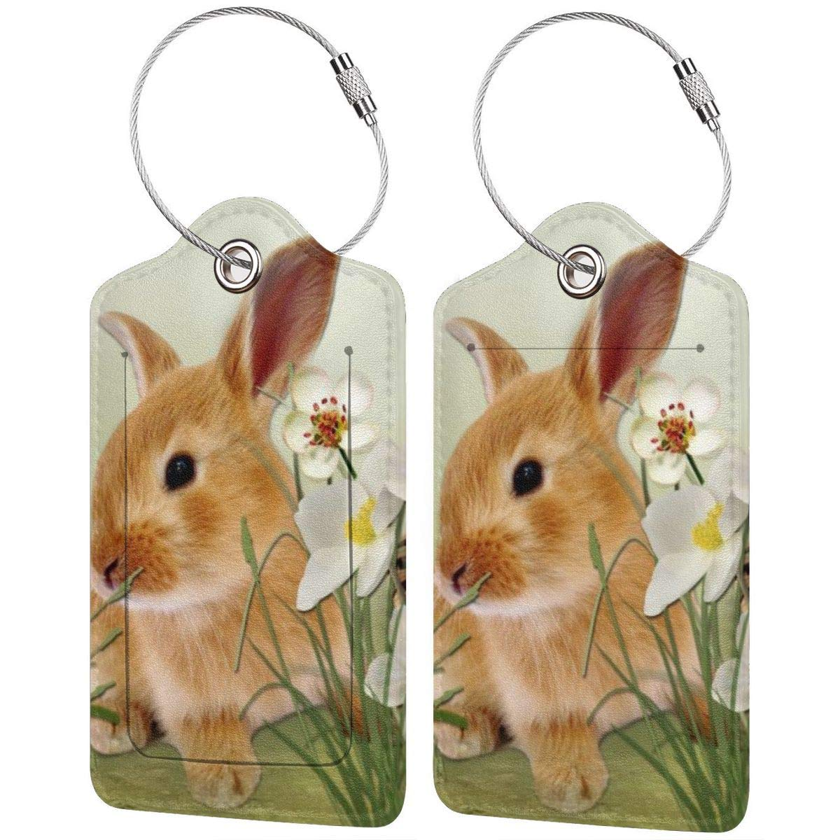 Summer Bunny Strawberries Travel Luggage Tags With Full Privacy Cover Leather Case And Stainless Steel Loop