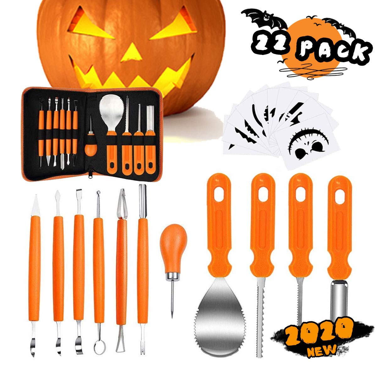 Halloween Pumpkin Accessories.Buy Hohit Halloween Pumpkin Carving Kit 11 Pack Tools Accessories Stainless Steel Professional Carving Knife Carve Sculpt Jack O Lanterns Halloween Decorations Diy With A Storage Carrying Case Online At Low Prices In India