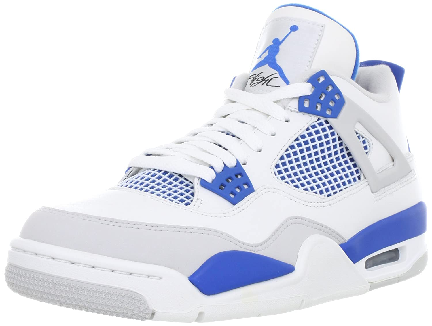 timeless design 20fde f3d0b NIKE Mens Air Jordan 4 Retro Military White/Military Blue Leather