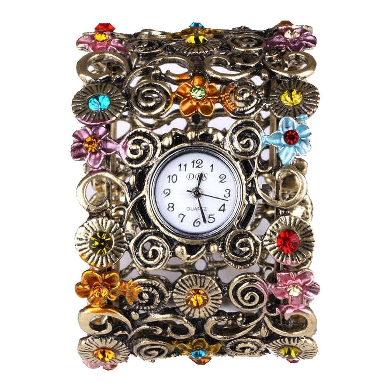 YESURPRISE Armband Uhr bunte Strassstein Blume Armreif Legierung Klassisch Damen Uhr Quarzuhr Watch