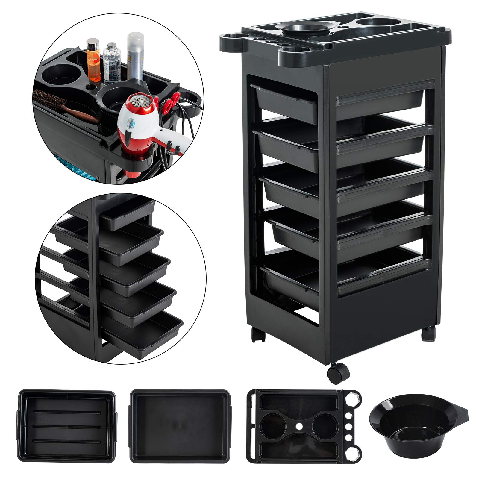 NURXIOVO Salon Cart Beauty Hairdressing Trolley Storage Organizer with Hairdryer Holders, 5 Drawers, Rolling Wheels, Spa Equipment Mobile Cabinet Black