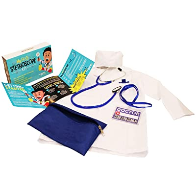 DIY jr My First Stethoscope Doctor's Kit - Real Stethoscope for Kids - Includes Lab Coat, Surgical Cap, Name Tag and Lanyard, Ages 6+: Toys & Games