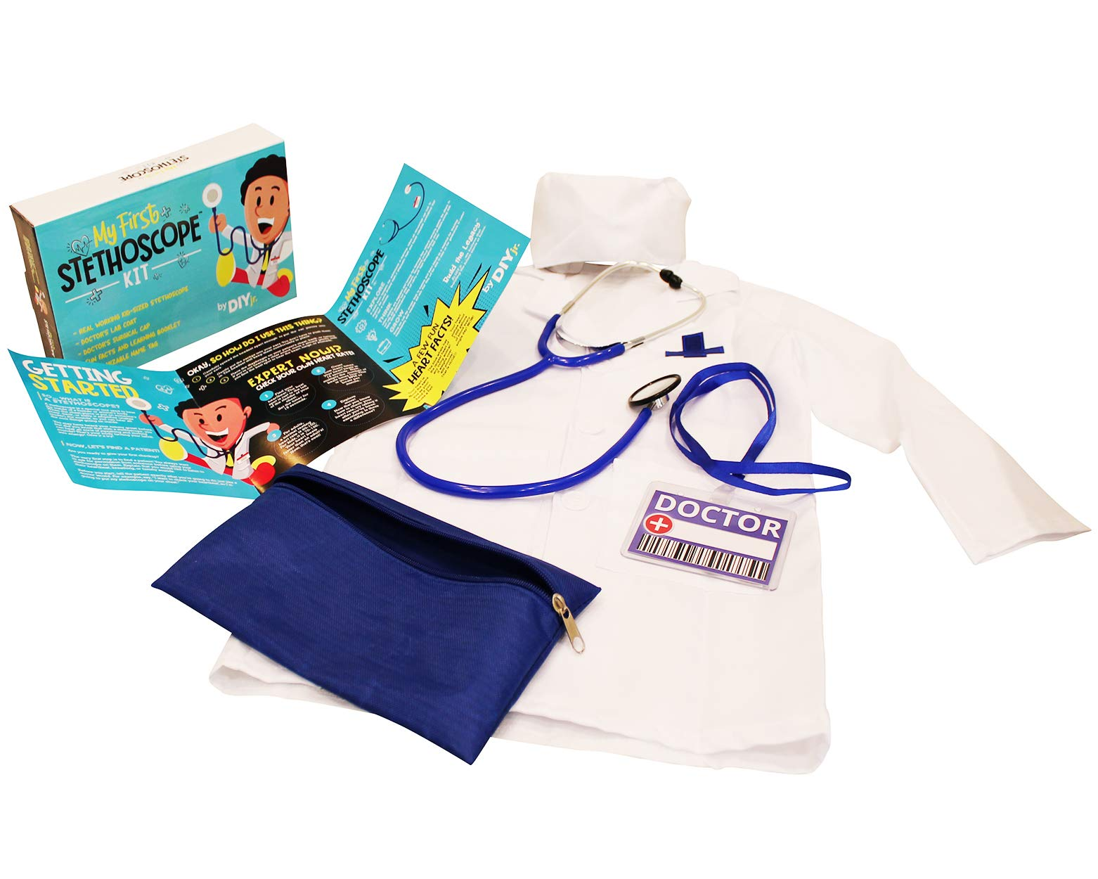 DIY jr My First Stethoscope Doctor's Kit - Real Stethoscope for Kids - Includes Lab Coat, Surgical Cap, Name Tag and Lanyard, Ages 6+ by DIY jr
