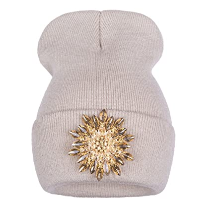e11181238b1 Keenwhile Ralferty New Winter Hats For Women Knitted Luxury Flower Crystal Beanies  Hat Off White Female