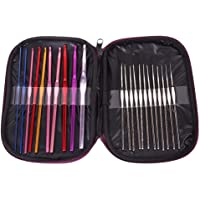 Electomania® 22Pcs Multicolor Aluminum Crochet Hooks Knitting Needles Set with Case