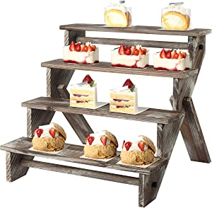 J JACKCUBE DESIGN Rustic Wood Display Stand, 4 Tier Wood Stair Shelf, Portable Display Riser, Included Bag for Storage, Decorative Dessert Stand - MK578A