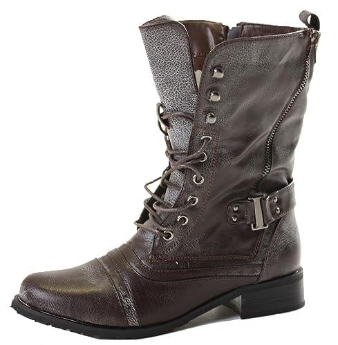 shoeFashionista - Zapatos De Mujer Botas Planas Bajas Cardones Botines Militares Tamaño 36 - 41: Amazon.es: Zapatos y complementos