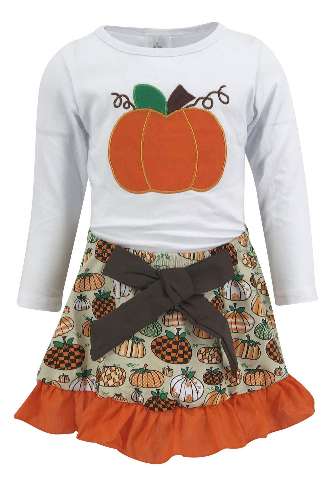 Unique Baby Girls 2 Piece Pumpkin Skirt Halloween & Thanksgiving Fall Outfit (8)