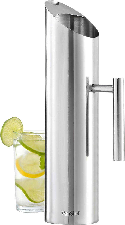 Vonshef - Jarra para agua vonshef – acero inoxidable 1.7 lt/jarra de agua de 3 pintas/jarra de agua con protector de hielo …