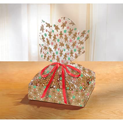Gingerbread Christmas Large Treat Tray With Cello Bags 9 Ct