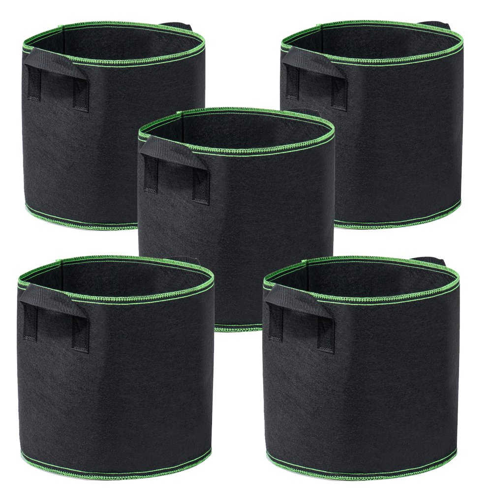 Garden4Ever Grow Bags 5-Pack 5 Gallon Aeration Fabric Pots Container with Handles