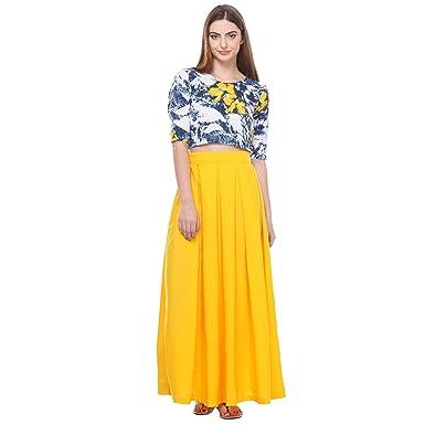 018184b0416c65 Closet Drama Womens Yellow box pleat maxi skirt ( wskt1-1601S_Yellow_S)