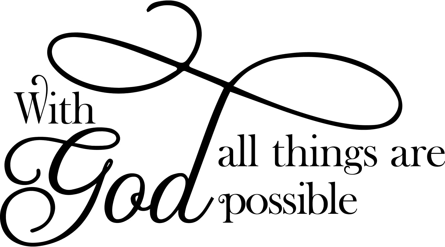 My Vinyl Story with God All Things are Possible Wall Sticker Inspirational Wall Decal Motivational Office Decor Quote Wall Art Vinyl Wall Decal Living Bed Room School Words Saying