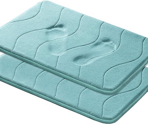 Lavish Home Coral Velvet Bath Rug Memory Foam Bathroom Mats Shower Mat Non-slip