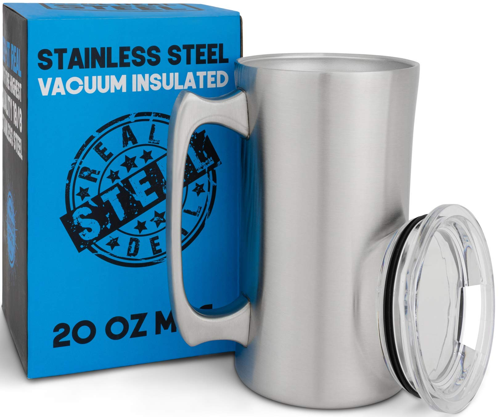 Stainless Steel Insulated Beer Mug: Real Deal Steel 20 Oz Beer Stein with Welded Handle and Clear Plastic Lid - Large Metal Tankard for IPA, Coffee, Tea - Double Walled Mugs for Hot or Cold Drinks