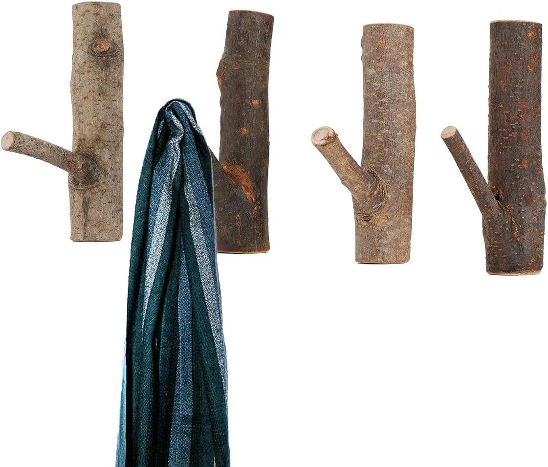 DOKOT Kleiderhaken Garderobenhaken aus Nat/ürliche Holz Haken Selbstklebend Wandhaken Handtuchhaken Geeignet f/ür Wohnzimmer Schlafzimmer Dekoration AST 4 St/ück Breite 2~3cm