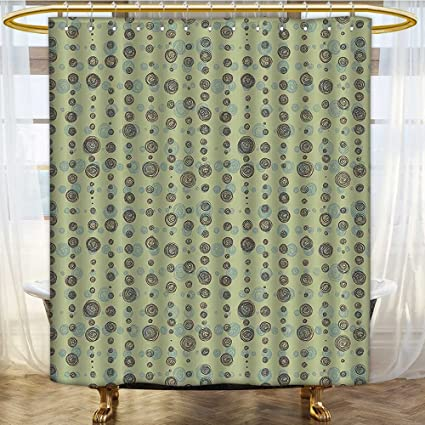 SCOCICI1588 Fabric Shower Curtain Round Shaped Polka Dots Art Print Sage Green Olive And Light