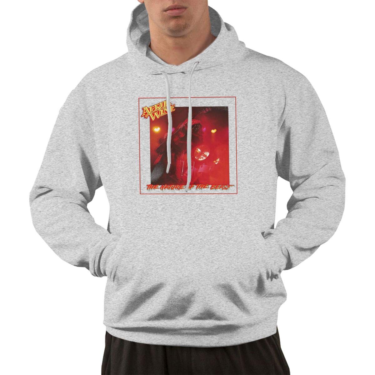 Erman Pullover Warm Gray Print April Wine Music Band Cover Hooded Shirts With Pocket 3