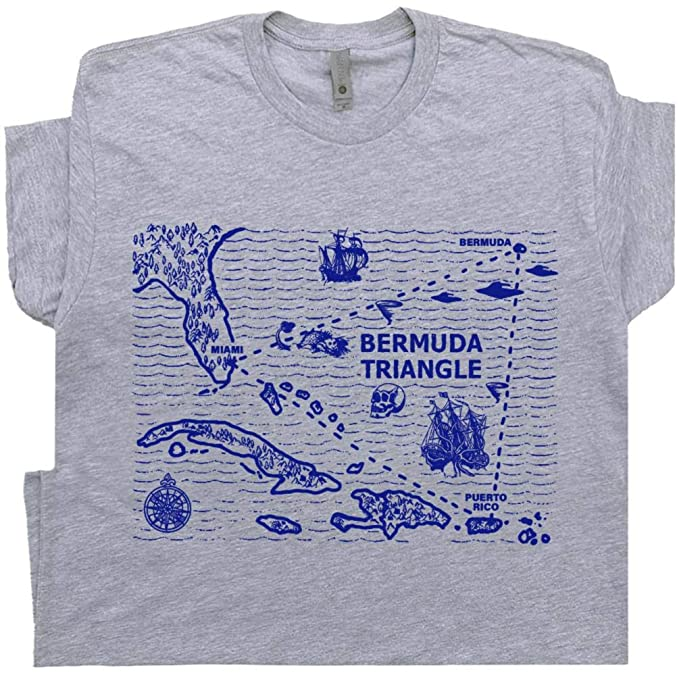 Bermuda Triangle T Shirt Triangle Map Shirts Weird UFO Alien Abduction Tee  Nautical Sailing Tee Flying Saucer