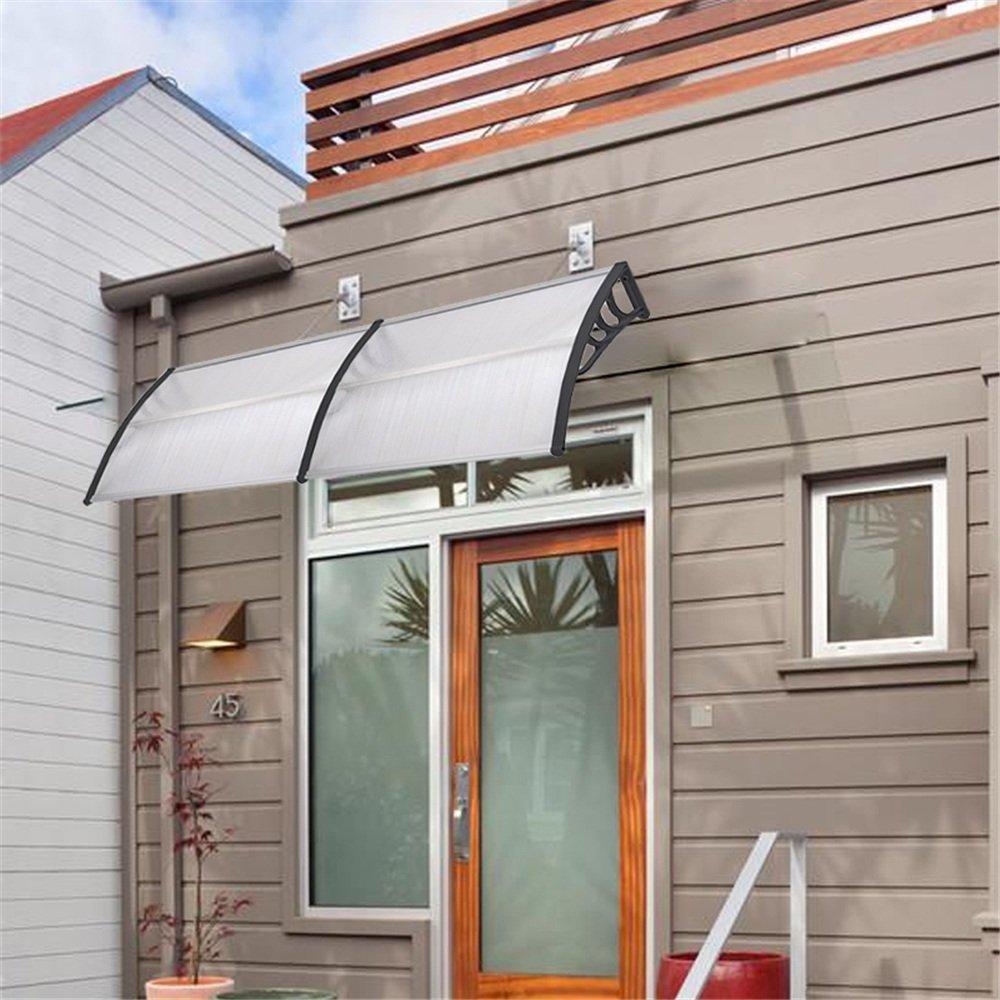 SAILUN/® Pultvordach Vordach T/ürdach Stahl Pultbogenvordach Vordach /Überdachung 300x90cm, Wei/ß