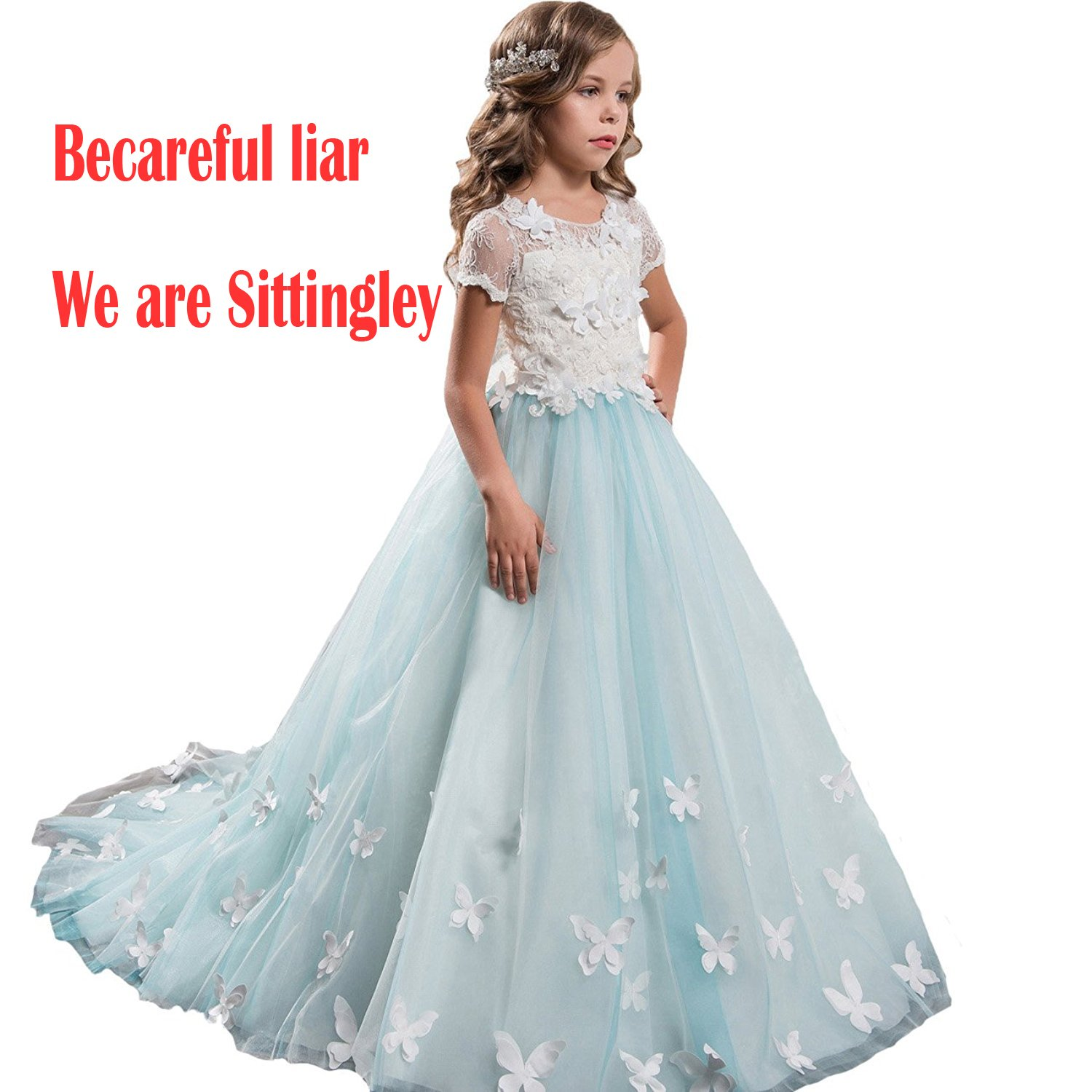 Amazon.com: Sittingley Fancy Girls Pageant Mint Blue Dresses 0-12 ...