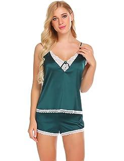 4890672a2832 Imposes Damen Satin Pyjama Shorty Kurzer Schlafanzug Sommer Nachtwäsche Set  Schwarz Rosa Grün