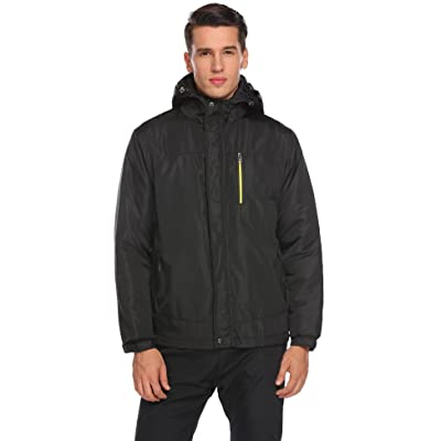 COORUN Men's Winter Thicken Cotton Coat Lightweight Zippered Windbreaker Jacket, Black, Medium