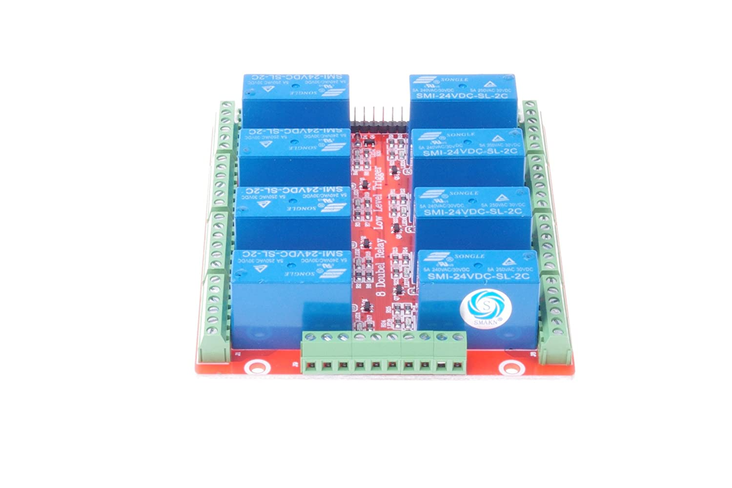 SMAKN/® Low Level Trigger 8 Channel SMI-24VDC-SL-2C DC 24V Double power relay Low Level Optocoupler Relay Module