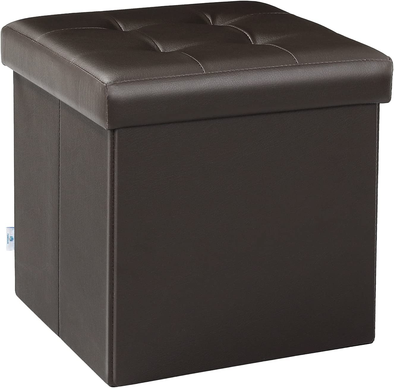 "B FSOBEIIALEO Folding Storage Ottoman Footrest Stool for Baby Faux Leather Seat Chest Brown 12.6""X12.6""X12.6"""