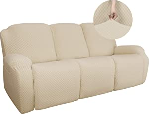 YEMYHOM 8 Pieces Stretch Recliner Sofa Cover Latest Jacquard Reclining Couch Cover with Side Pocket Anti-Slip Fitted 3 Cushion Furniture Slipcovers with Elastic Bottom (Sofa Recliner, Beige)