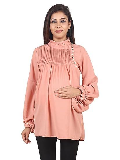 53df7edabc41e 9teenAGAIN Women's Plain Woven Maternity Top (Rust): Amazon.in ...