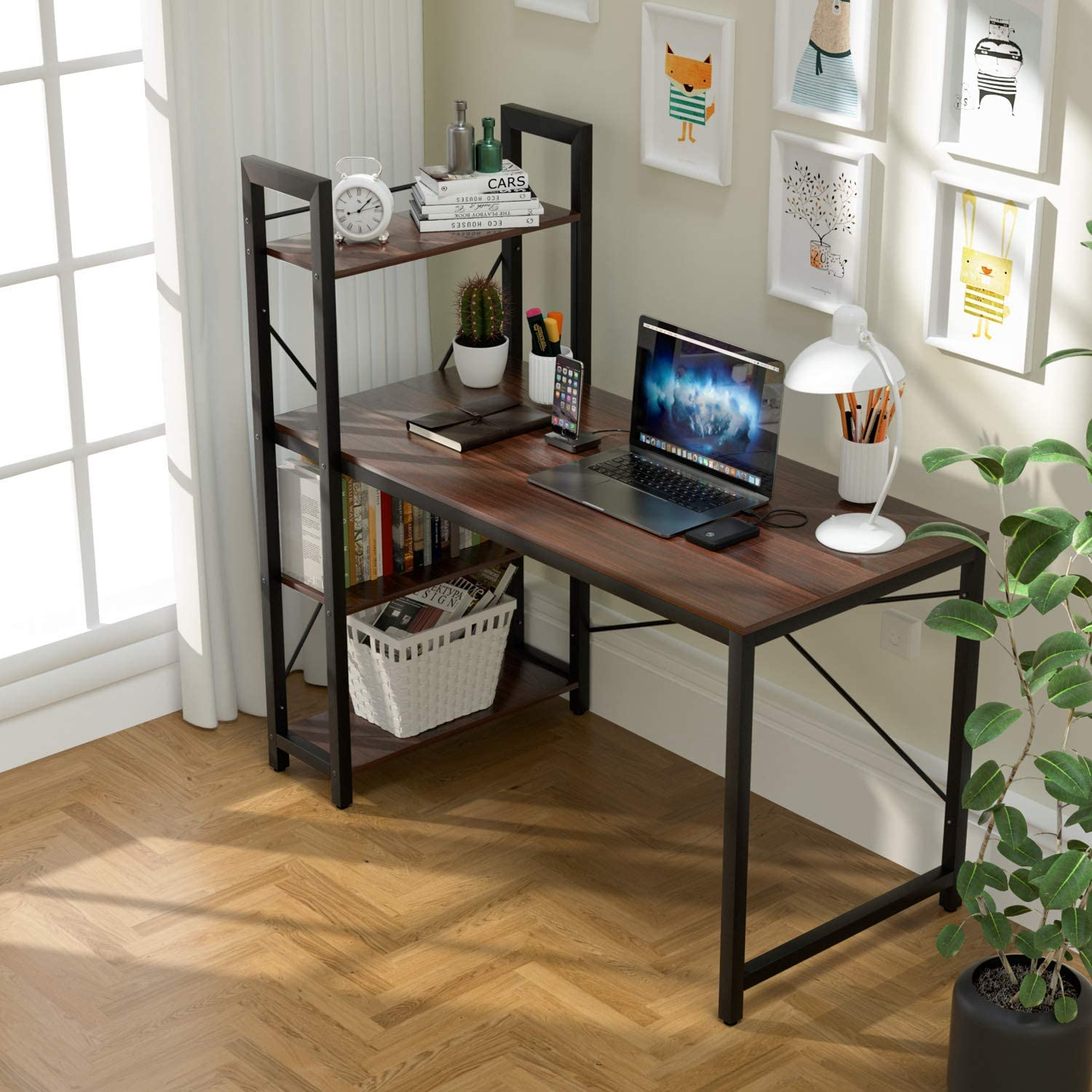 VADIM Computer Desk with Shelves, Modern Office Desk with 4-Tier Shelf, Durable Working Desk for Home, Bedroom, Office, Sturdy Writing Table with Storage Bookshelf, 47 Inches, Walnut