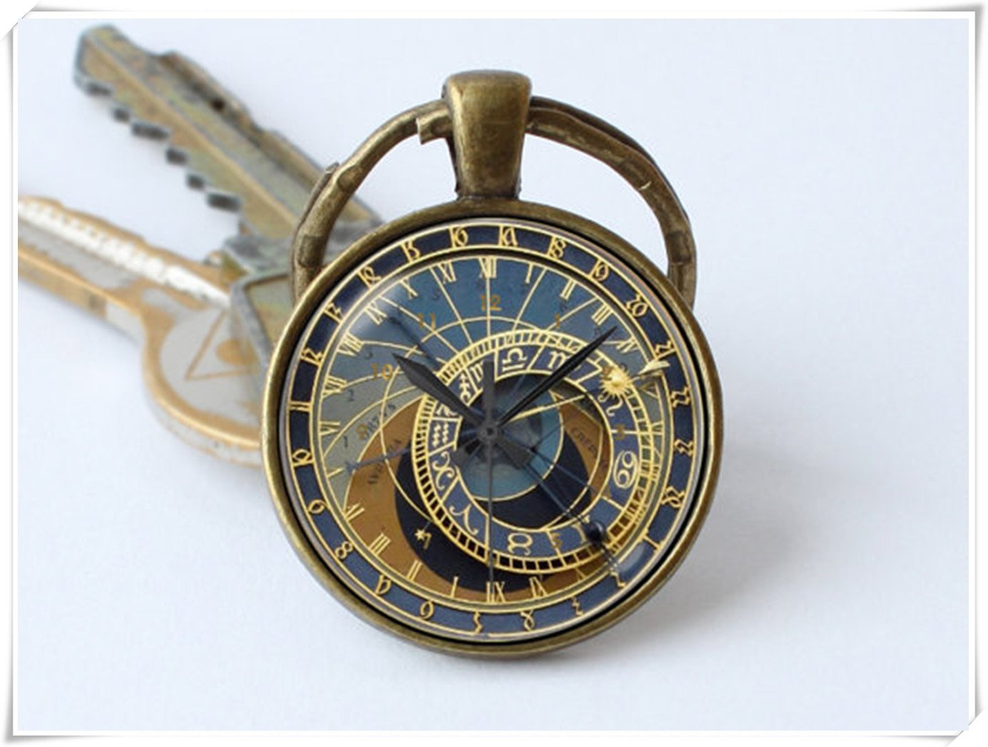 Clock keychain Prague clock key ring Clock jewelry Steampunk key chain Clock pendant 3