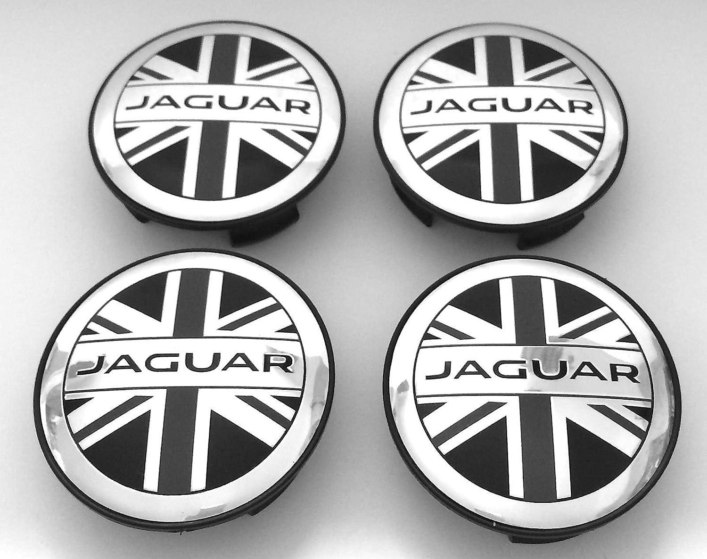 Set von 4 Jaguar Union Jack Flagge Logo 59 mm Legierung Rad Badge Center Hub Mitte Kappen XJ XJR XJ6 XF F X S Typ F-S-Type X-Type und weitere Modelle anatoaz