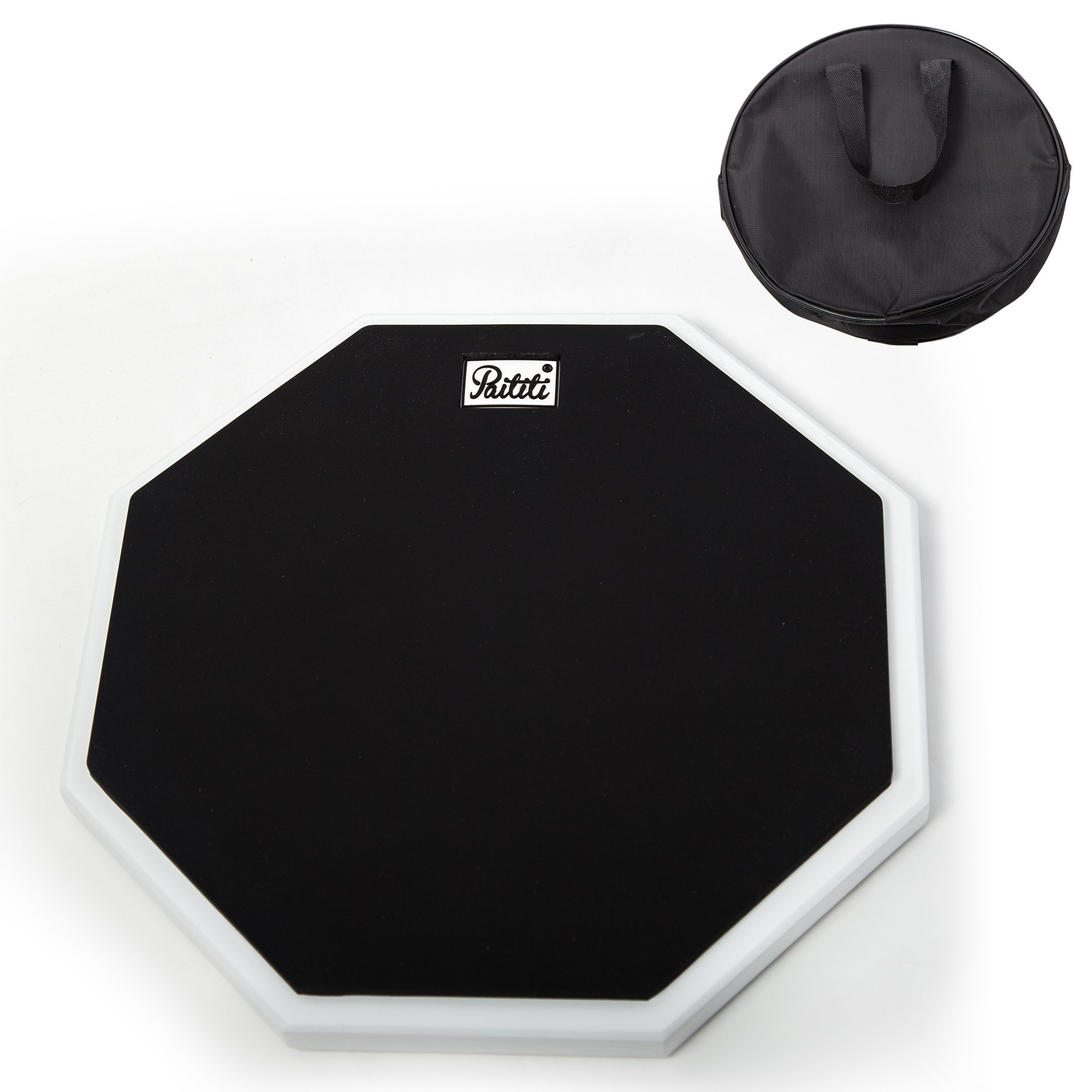 PAITITI 10 Inch Silent Portable Practice Drum Pad Octagonal Shape with Carrying Bag Black Color