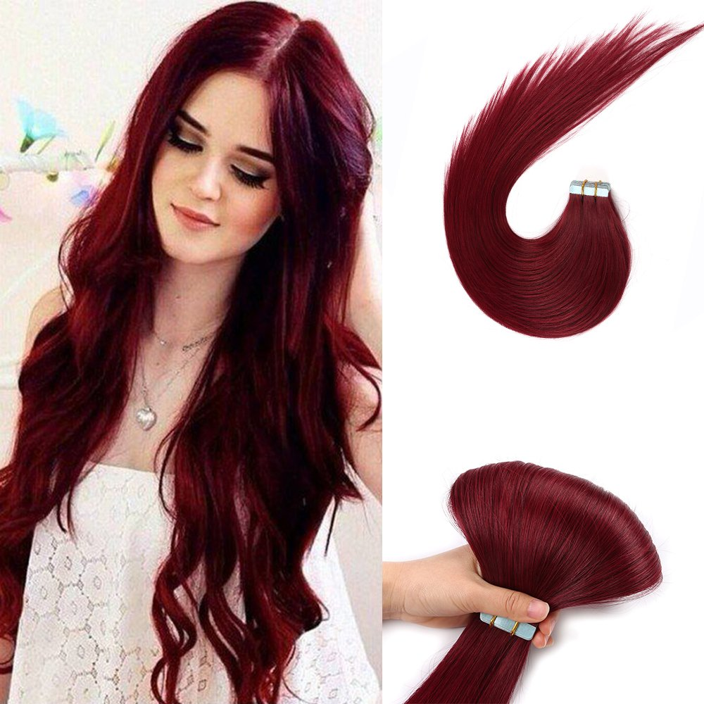 Burgundy Tape in Human Hair Extensions 5pcs