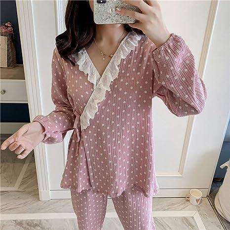 SYLOIK Conjuntos de Pijamas de Mujer otoño Invierno con Pantalones Algodón Femenino Dos Piezas Camisas + Pantalones Ropa de Dormir de Manga Larga, Fendian, XL: Amazon.es: Deportes y aire libre