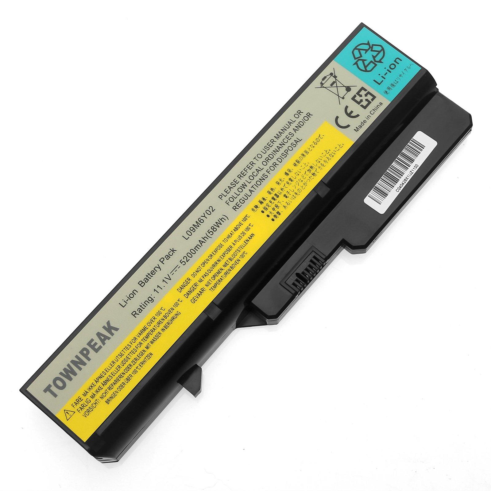 Townpeak Laptop Battery For Lenovo IdeaPad G460 G465 G470 G475 G560 G565 G570 L09M6Y02[Li-ion 6-cell 11.1V 5200mAh/58WH]12 Months Warranty