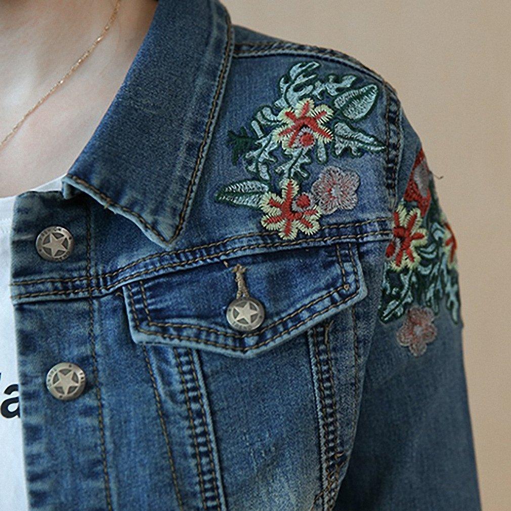 Womens Denim Jacket Vintage Embroidery Floral Plus Size Bomber Jackets Slim at Amazon Womens Coats Shop